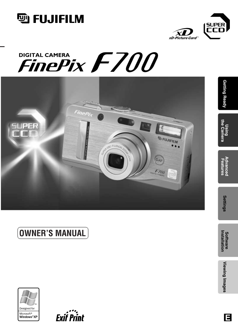 User manual for FujiFilm FinePix F700 - a user manual, servicing