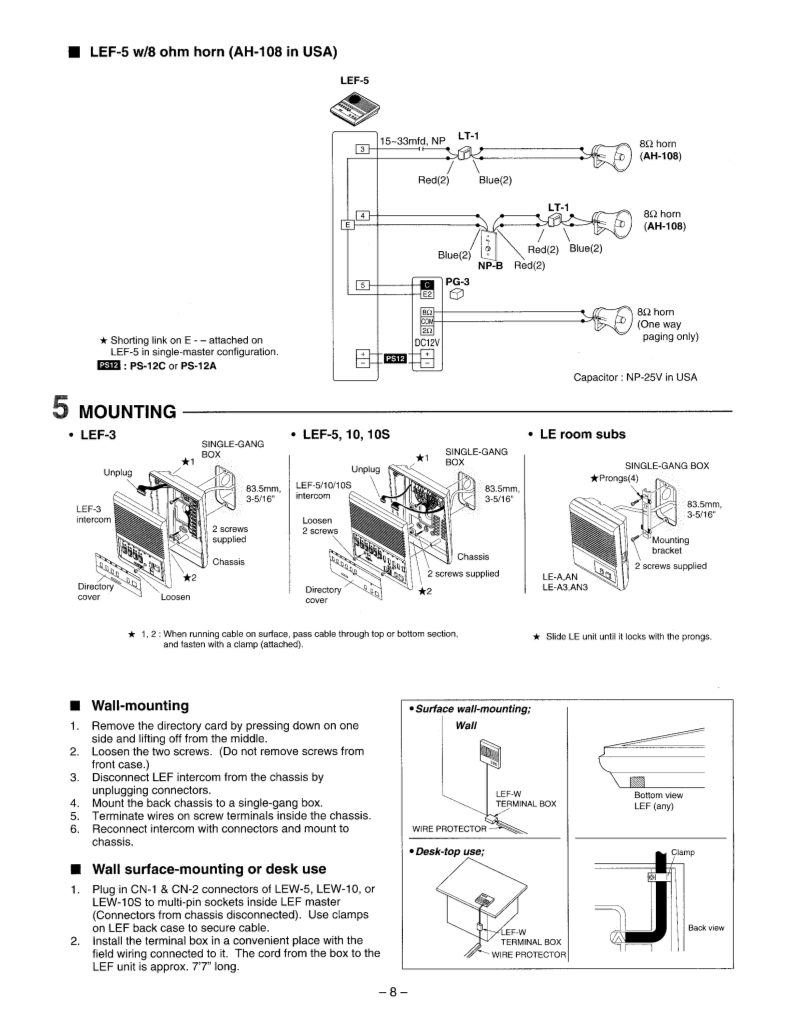 user manual for aiphone lef-5 - a user manual, servicing manual, settings  and specifications ofaiphone lef-5 - page 8 - user manuals and advice for  your devices - user-manual.info  user-manual.info