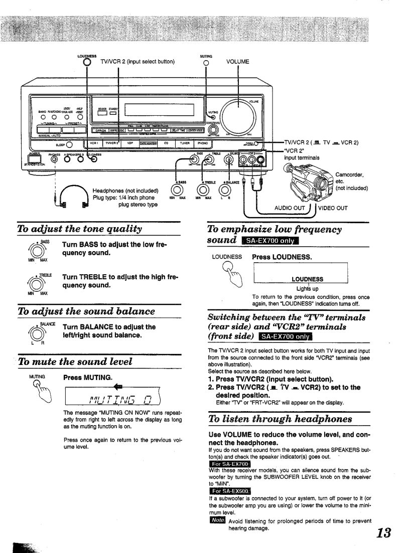 User manual for Technics SA-EX700 - a user manual, servicing