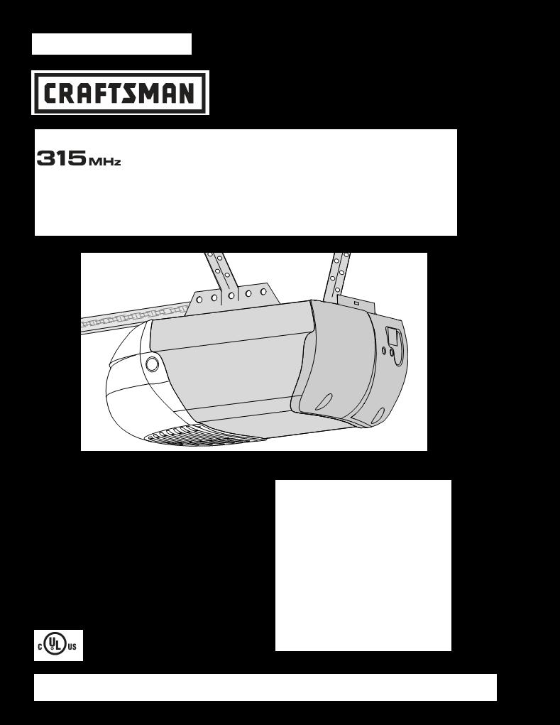 User Manual For Craftsman Garage Door Opener 13918451d A User