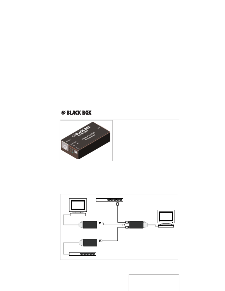 BLACK BOX NETWORK SERVICES LE180A 10BASE-T TO AUI TRANSCEIVER